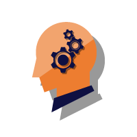 Icon of cogs inside a head