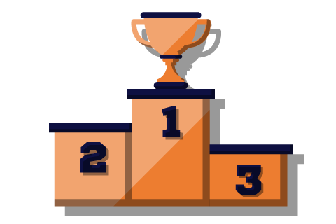 illustration of a winners podium and trophy